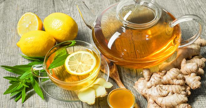 Имбирный чай с лимоном при ангине